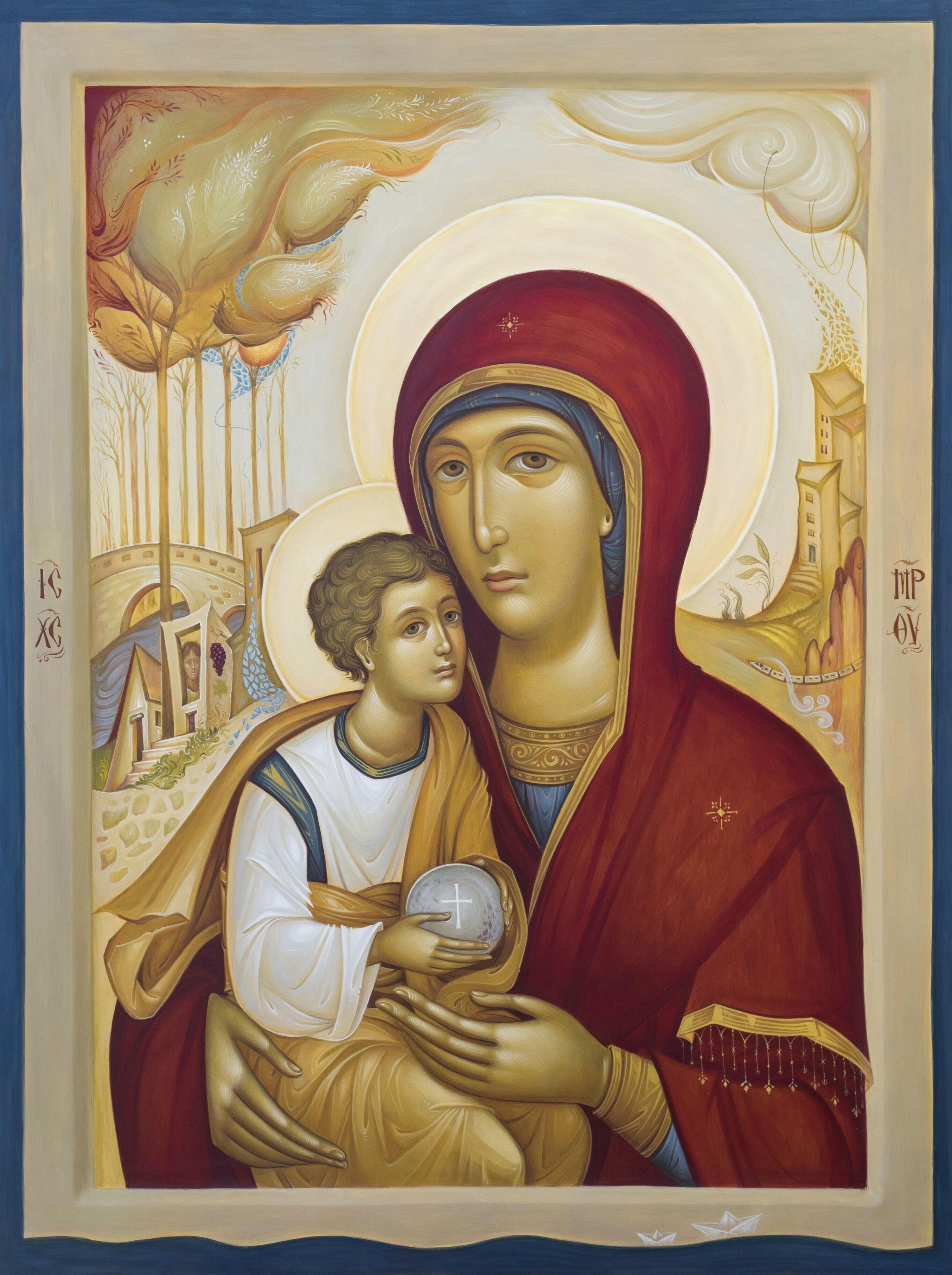 Δουληγέρη Χριστίνα, ''Μήτηρ Θεού, η Μετάγουσα'' Αυγοτέμπερα σε ξύλο 45Χ60 εκ.