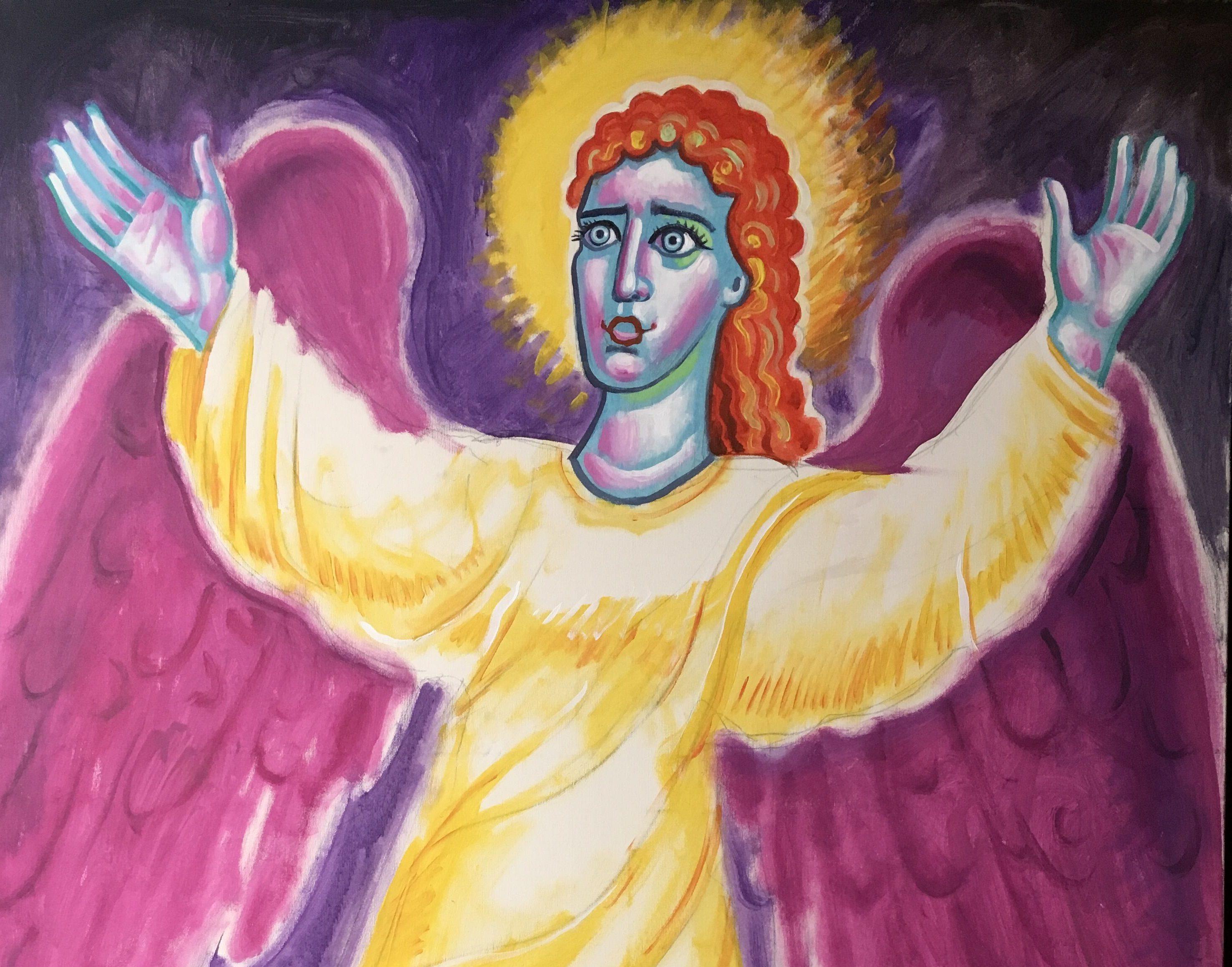 Π. Σταμάτης Σκλήρης, Αγγελος Αναστάσεως, ακρυλικό σε μουσαμά, 125Χ100εκ