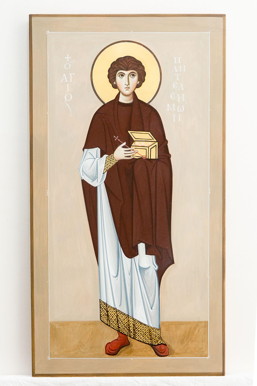 Ivan Polverari, Αγιος Παντελεήμων 35Χ65 αυγοτέμπερα σε ξύλο.